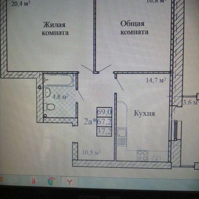 2х комнатная квартира в новом строящемся доме в самом цен...